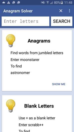 Android Anagram Solver Tips